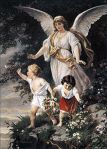 "Schutzengel (English: ""Guardian Angel"") by Bernhard Plockhorst depicts a guardian angel watching over two children"