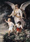 "Schutzengel (English: ""Guardian Angel"") by Bernhard Plockhorst depicts a guardian angel watching over two children"