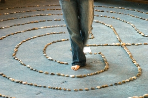 woman walking labyrinth
